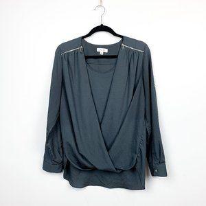 Calvin Klein Grey Blouse with Draped Neck